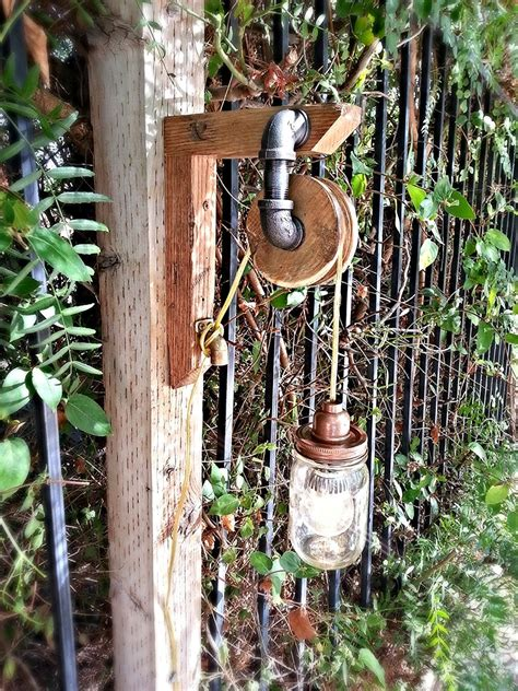 Vintage Look Pulley Mason Jar Light Steampunk