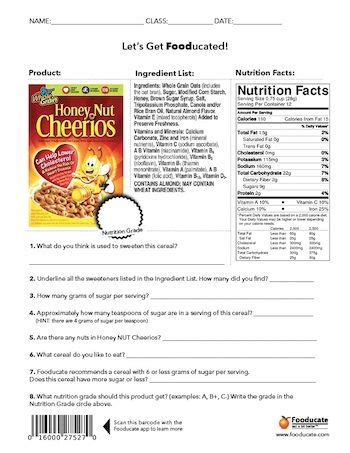nutrition worksheets for put out by fooducate a