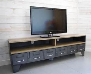 Meuble Tv 1m : meuble tv industriel tiroirs et niche pour les appareils ~ Teatrodelosmanantiales.com Idées de Décoration