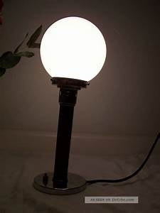 Lampe Art Deco : bauhaus lampe opalglasschirm art deco tischlampe kugellampe chrom nussbaum ~ Teatrodelosmanantiales.com Idées de Décoration