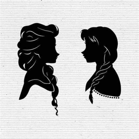 ✅ download free mono or multi color vectors for commercial use. Frozen Sisters Elsa and Anna Disney Silhouette SVG Cut ...