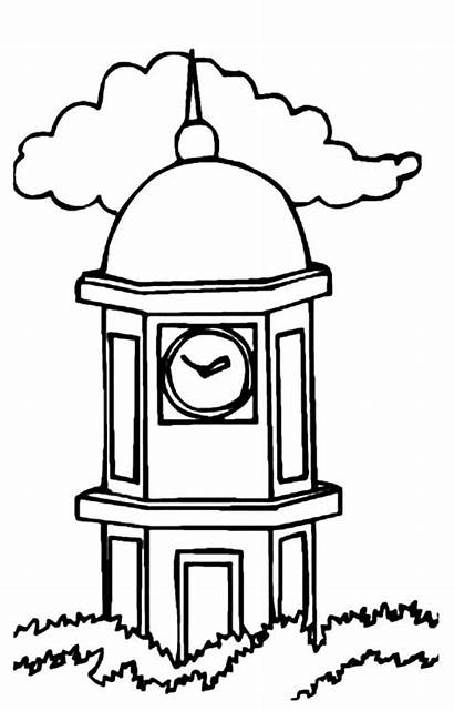 Coloring Clock Tower Pages Drawing Netart
