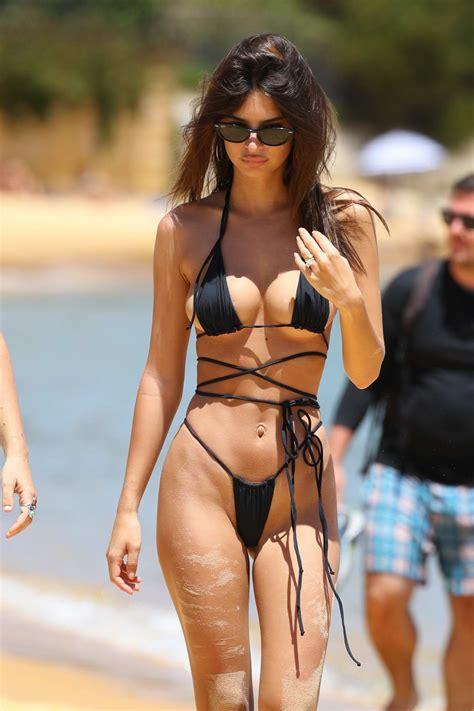 emily ratajkowski spotted in a black string bikini at the ...