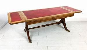 Tavolino Inglese A Bandelle  In Legno Di Mogano E Rovere  Con Piano In Pelle  Inghilterra  Anni