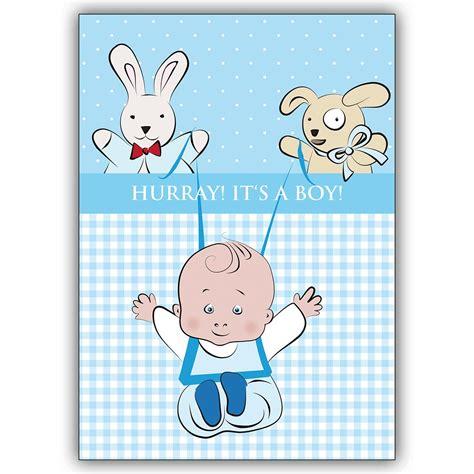 tolle babykarte junge zur geburt hurray it s a boy