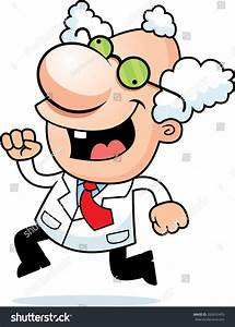 Illustration Cartoon Mad Scientist Running Stock Vector ...