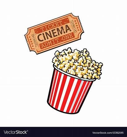 Popcorn Cinema Retro Bucket Objects Ticket Balde