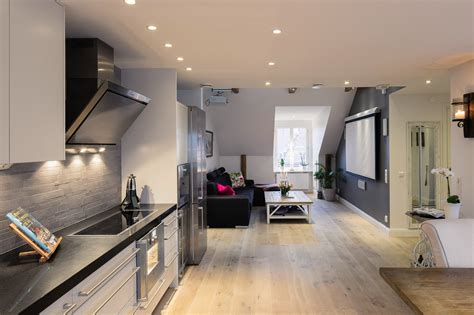kitchen floor plans with island small one bedroom modern attic apartment with