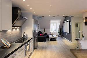 Elegant small one bedroom modern attic apartment with for Elegant one bedroom apartment decorating ideas