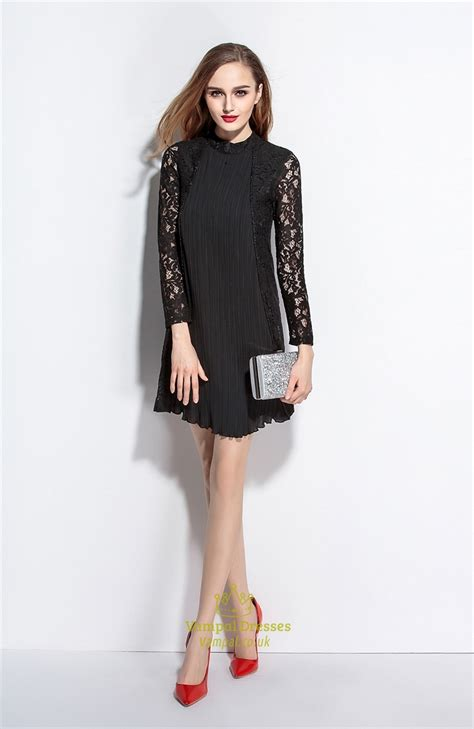 black high neck   dress  lace long sleeves