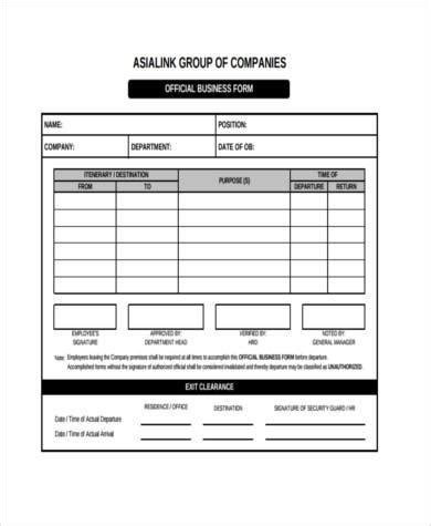 sample official business form business form templates