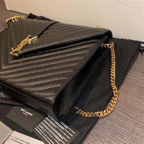 saint laurent monogram envelope large chevron black leather shoulder bag tradesy