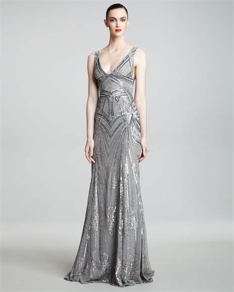 monique lhuillier art deco embroidered gown  metallic lyst