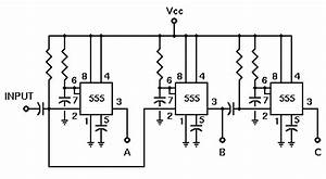 555 application pulse sequencer With pulse delay circuit
