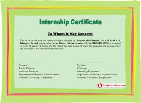 internship certificate sample letter certificate