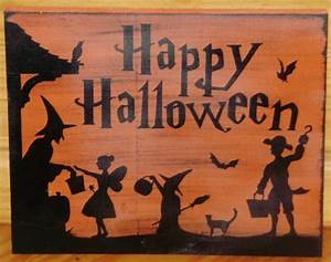 Happy Halloween Sign Primitive Witch Decorations Plaque ...