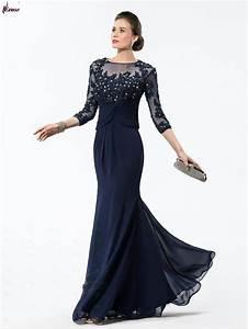 Elegant Appliques/Sequins 3/4 Length Sleeves Floor Length ...
