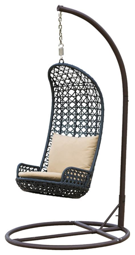 brinkley outdoor black wicker swinging chair