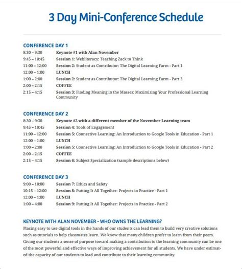 conference schedule templates word  event