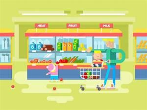 Supermarket design flat illustration