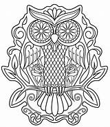 Skull Coloring Sugar Pages Print Sheet Owl Printable sketch template