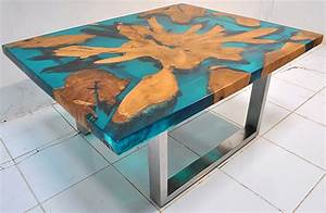 solid wood and resin custom made furniture manufacturing With wood and resin coffee table