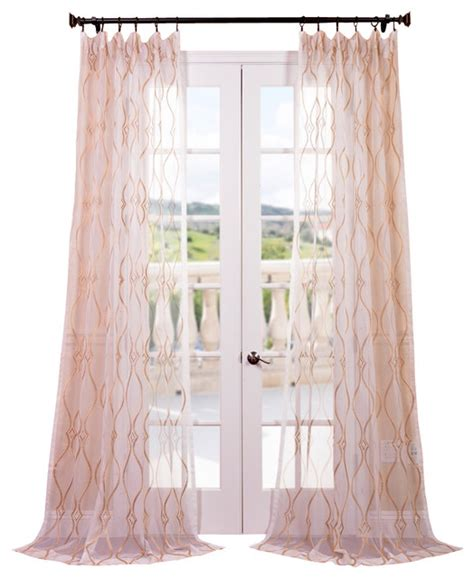 contessa gold embroidered sheer curtain contemporary