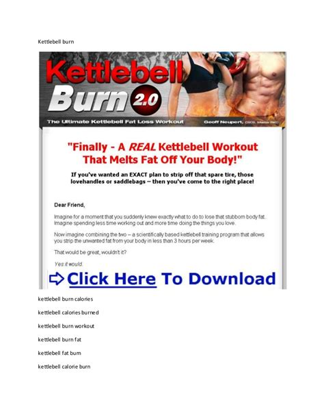 kettlebell burn fat calories burning burned swings exercises extreme hour workout many pdf