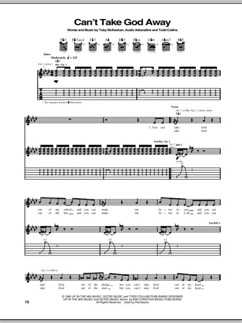can t take god away by audio adrenaline guitar tab guitar instructor