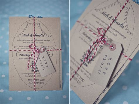 our wedding handmade rustic wedding stationery with red