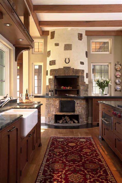 fabulous kitchens showcasing warm  cozy fireplaces