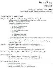 What Is Professional Publications In A Resume by Resume Foreign National News Editor National Publication