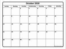 October 2018 Calendar Word