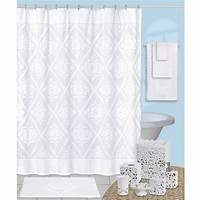 white shower curtain Belle White Cotton Chenille Shower Curtain