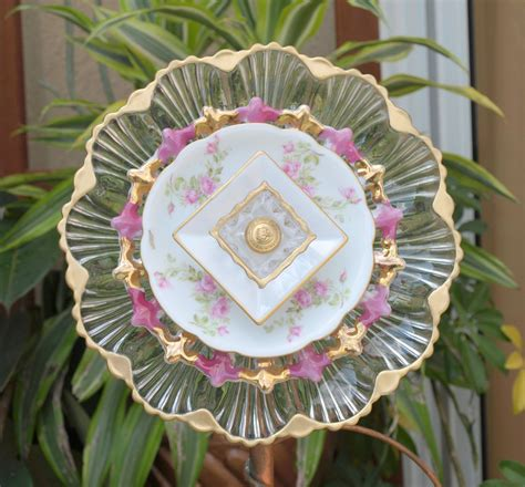 Repurpose Pink Gold Glass Plate Flower Nokill Everblooming