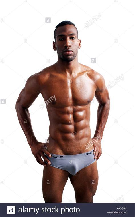 handsome muscular black man  stock photo  alamy