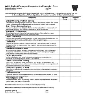 wmu student employee competencies evaluation  template