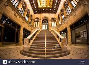 Beautiful lobby interior with staircase in historic ...