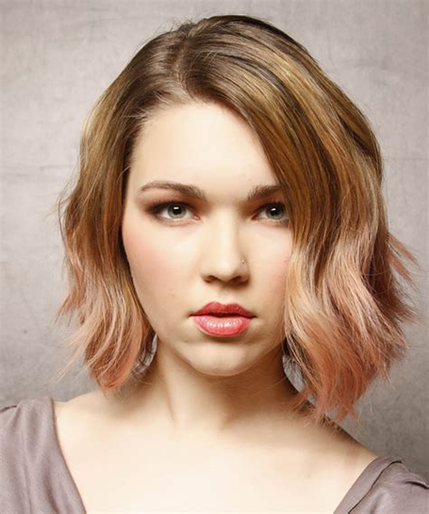Medium Wavy Casual Hairstyle   Dark Blonde (Strawberry