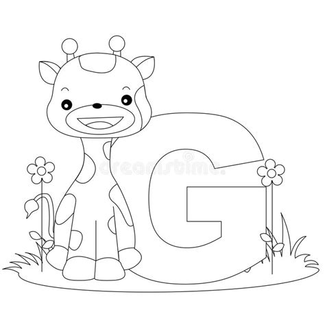 animal alphabet  coloring page stock vector image