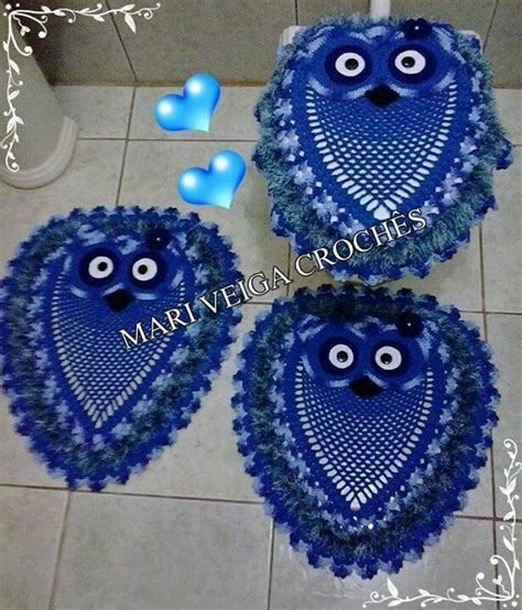crochet owl bath sets 564 best tapetes de corujas images on