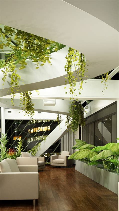 wallpaper living room design high tech modern plants