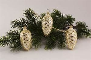 Weihnachtskugeln Aus Lauscha : 3 tannenzapfen 6cm eis champagner gold christbaumkugeln ~ Orissabook.com Haus und Dekorationen