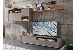 Meuble TV Design Mural Gris Pierre Et Bois