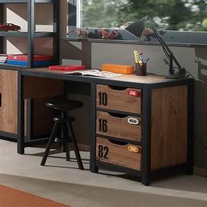 bureau adolescent 3 tiroirs industry zd1 buro ado c 001jpg With meuble d entree chaussures 6 meuble bureau style industriel marron et noir chambre d
