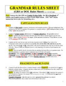 Basic Grammar Rules Cheat Sheet