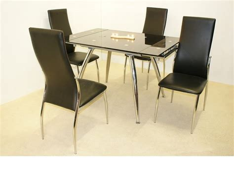 small extending glass dining table and 4 chairs homegenies