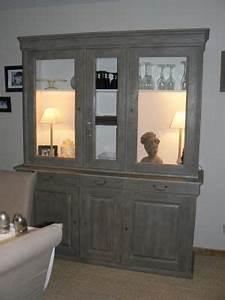Meuble Merisier Relooké : un buffet haut en merisier apres vous avez relook un meuble montrez nous meubles ~ Nature-et-papiers.com Idées de Décoration