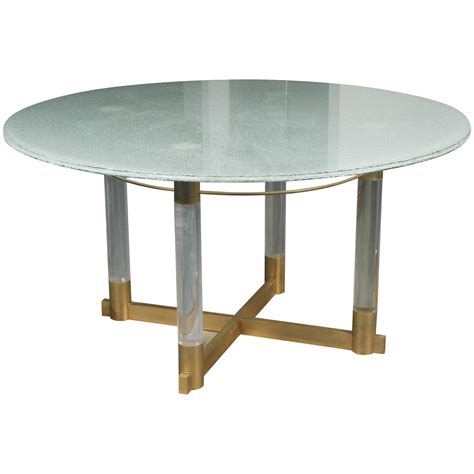 Crackled Glass Dining Table With A Base Of Lucite And