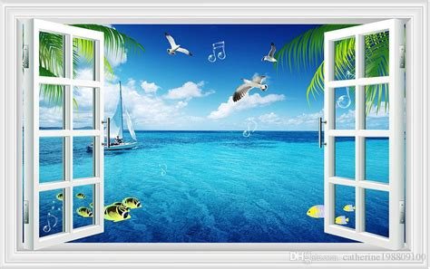 3d Window Ocean View Blue Sea Home Decor Wall Sticker: Dream Windows Window View Sea Living Room TV Backdrop Wall